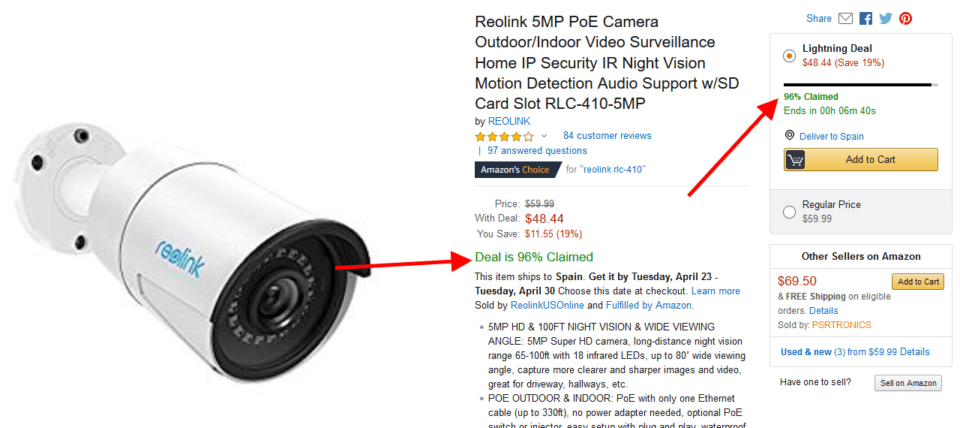 Amazon website example - Psychology of scarcity example