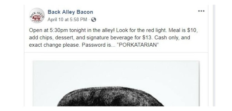 Back Alley Bacon post on Facebook