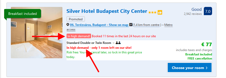 Scarcity Principle example from the Bookings website