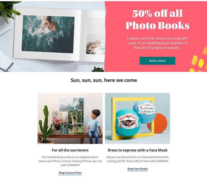 Photobox homepage