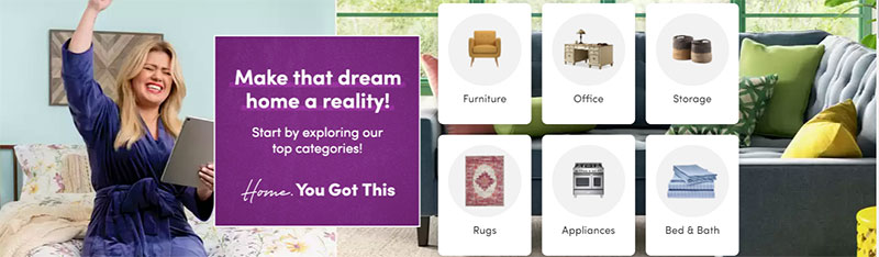 Wayfair hero image with selected category links