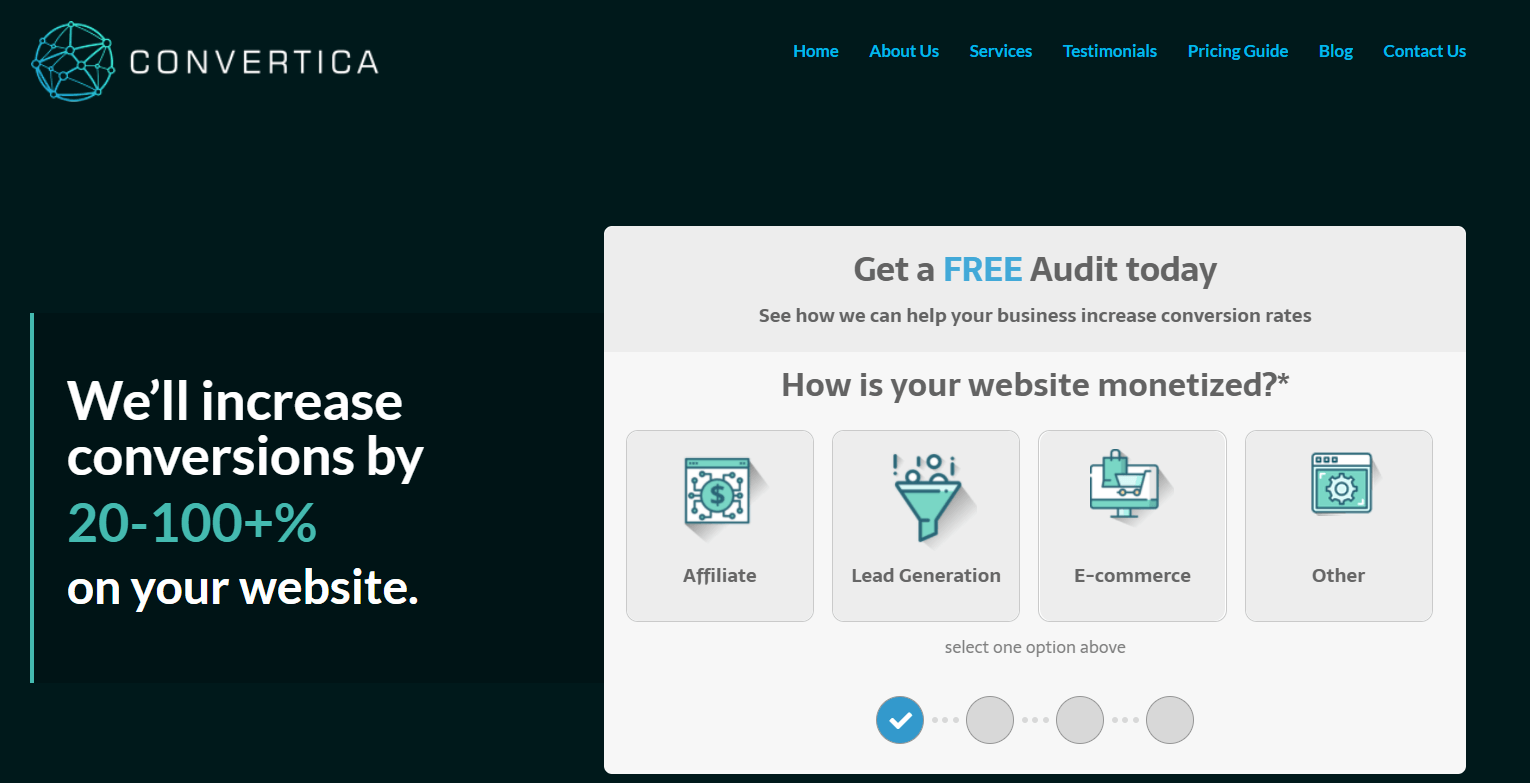 convertica hero section landing page